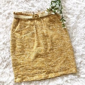 Anthropologie Elevenses Yellow Belted Skirt 0